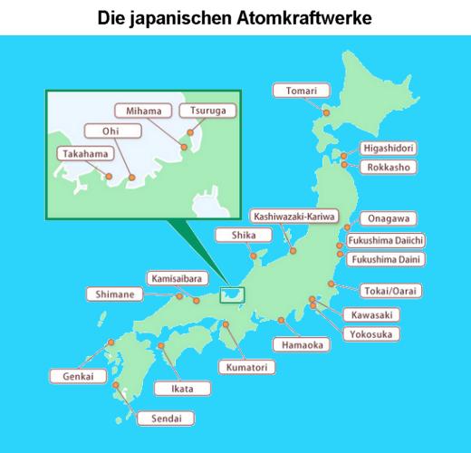 Die japanischen Atomkraftwerke, Karte - Grafik: Samy - auf der Grundlage einer Grafik des Japan Atomic Industries Forum - Creative-Commons-Lizenz Namensnennung Nicht-Kommerziell 3.0
