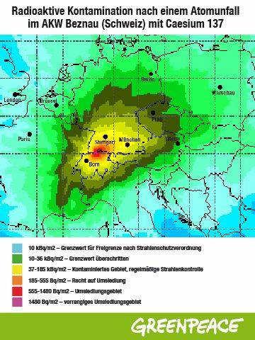 Radioaktive Kontamination nach einem Super-GAU im Schweizer AKW Beznau